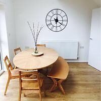 Oval Oak Table and Bench, with 4 chairs,