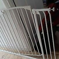 Baby pet white metal safety gate guard pressure fit extra large wide and high