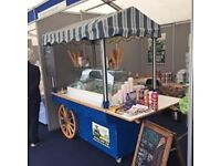 Blue and Cream Cartology Ice Cream Cart 10 Flavours. Pans and side shelf not included in the sale.