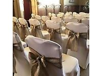 Beautiful Bespoke Hessian and Lace Chair Sashes