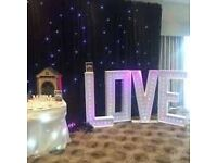 4ft LED LOVE letters, White, North east hire £100. Battery operated.