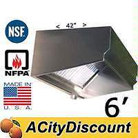 SUPERIOR HOODS VSE42-6 6FT STAINLESS STEEL RESTAURANT RANGE GREASE HOOD NSF NFPA