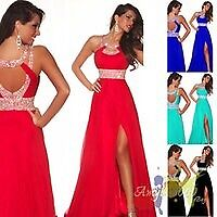 Red prom dress with slit