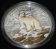 Piece de monnaie de $20 ours polaire coloree en argent fin