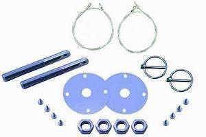 Chevy Ford Mopar Aluminum Hood Pin Kit Flip-over Style - Black