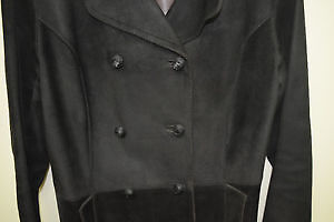 Luxurious Black Leather Suede Coat