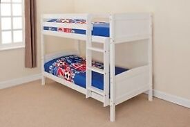 Children's solid white bunk beds