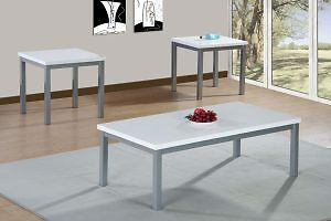 3 Piece coffee table set, white high gloss lacquer finish