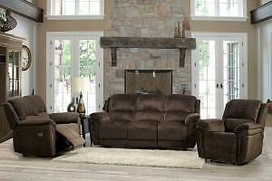 New!!! 60% OFF!!! ONLY 2 SETS LEFT!!! 3PC Chocolate Waveland Fabric Floor Model Sofa Set.  $1749+HST