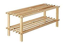 Shoe Rack - 2 tier slatted natural wood