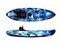 One person Galaxy sit on top Kayak with paddle and seat, trolley in blue camo. Superb condition