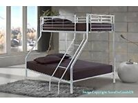 【Brand New】LIMITED TIME OFFER ** TRIO SLEEPER METAL BUNK BED FRAME IN SILVER AND WHITE WITH MATTRESS