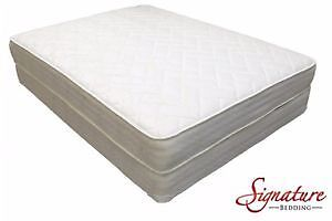 Queen size bed with box spring mattress and frame