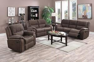 New!!! 60% OFF!!! 1 SET LEFT!!! 3PC Suede-Grain Textured Floor Model Sofa Set Available in Tan or Chocolate.