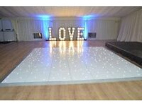 Led dance floor hire, wedding car hire, throne chairs hire, wireless up lighting hire, donut van
