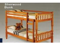 A Sherwood Pine Solid Wooden BunkBed, splits into 2 single bed and mattress
