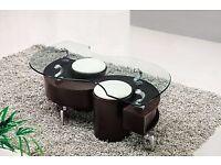 S shape glass coffee table