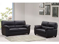 SUPER SALE 75% OFF ALL BRAND NEW **ROMA** 3+2 SOFAS (PU LEATHER) AVAILABLE IN BLACK OR BROWN
