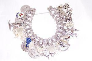58fe37827879 Vintage Sterling Silver Charm Bracelet with Charms