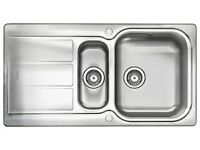 rangemaster brushed stainless steel kitchen sink , glendale , bowl and a half ,brand new