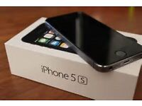 Apple iphone 5S, Black, 16GB, factory unlocked to networks, with charger, and box, fully working.