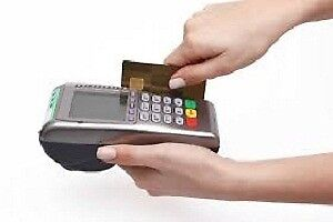 Debit and credit card processing machine