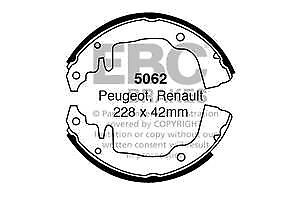 5062 EBC Front / Rear Brake Shoes for PEUGEOT RENAULT 204 304 16