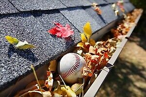 Eavestrough clean-up and screen installation services.