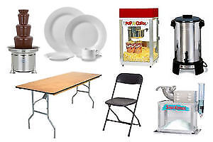 chairs, tables, table cloths, chafing dish, tents rentals