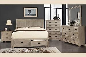 5PC TAYLOR QUEEN SET - AVOID THE ROUTINE BROWN BEDROOM WITH A DRIFTWOOD FINISH. THIS BEDROOM'S AGED PATINA IS ANOTHER VE