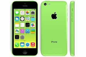 A green Apple iPhone 5C showing front back and side
