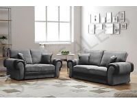 3+2 BLACK AND GREY FULL CUSHION BACK SOFA AS IN PIC BRAND NEW