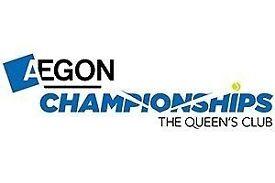 2 x tickets Aegon Championship Tennis Queens Sun 25 June Finals