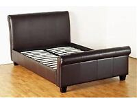 Brown faux leather king size bed frame
