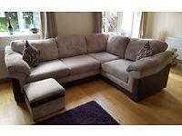 Hallow Mocha Brown Fabric Left Hand Corner Sofa for sale