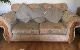 Solid 3 seater & 2 seater & footstool