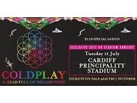 Coldplay tickets x2 for 11th july 2017 at 5pm, cardiff, principality stadium