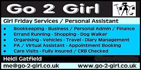 Girl Friday Services, Virtual Assistant, Personal Assistant, Bookkeeper, Local Dog Walking