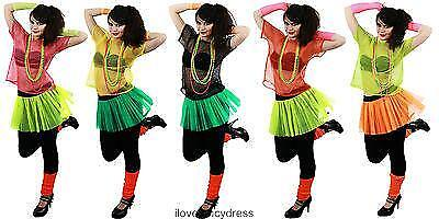 80S MESH TOP NEON FISHNET T-SHIRT FANCY DRESS COSTUME 5 COLOURS UK LADIES 8-14 (80s Fancy Dress Kostüme Uk)