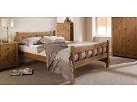 Solid Pine 4ft6 double Bed Frame, Aztec Wax finish, with Thick Gold Ortho Mattress. Free delivery