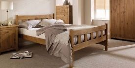 Modern 4ft6 double solid pine Havana waxed bed frame with ortho mattress. Brand new, Free delivery