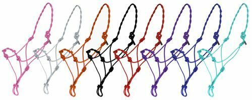 Brand New 4 Knot Twisted Cowboy Rope Halter BLACK BLUE PINK PURPLE RED TEAL 4341