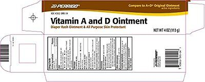 Windel Salbe (Perrigo Vitamin A & D Salbe Windel Ausschlag und Haut Schutzmittel 118ml)