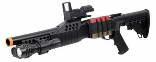 UKARMS 1:1 Pump Action Spring Powered Airsoft Shotgun 6mm BB Gun w Red Dot