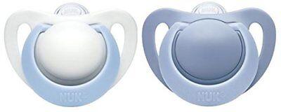 NUK Genius Silikon-Schnuller, für zarte Neugeborene, 0-2 Monate, Blau (Boy)