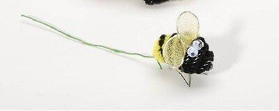 Bee Craft - 5 Mini Chenille Bees w/google eyes 1 inch- Black & Yellow -Spring Floral Picks