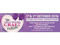 HALF PRICE TICKETS for The Great British Craft Festival! FREE Gifts for everyone & offers galore!