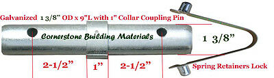 Ten 1-38od X 9l With 1 Collar Scaffold Coupling Pin 10 Spring Retainer