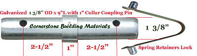 Three Scaffold Coupling Pin 1-38od X 9l With 1 Collar 3 Spring Retainers