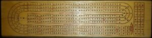 WOODEN CRIBBAGE BOARD WITH 3 ROWS plus cards